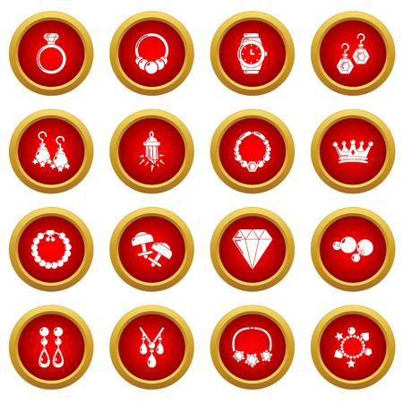 Jewelry shop icons set, simple style