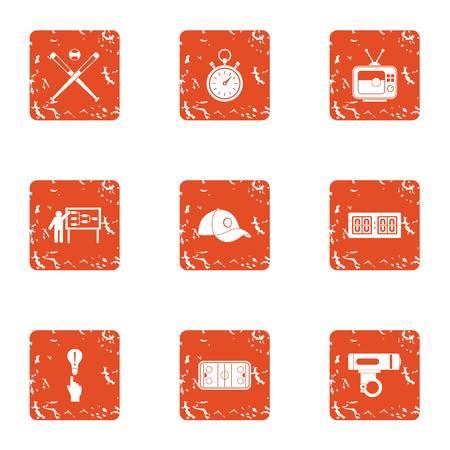 Sport management icons set, grunge style