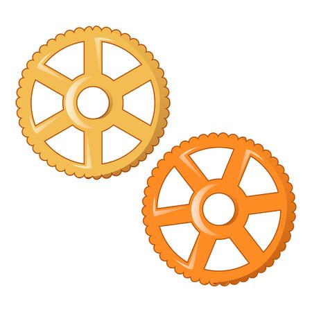 Wheel pasta icon, cartoon style