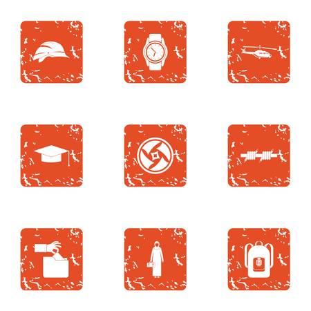 Regulation icons set, grunge style
