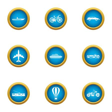 Transport for movement icons set, flat style