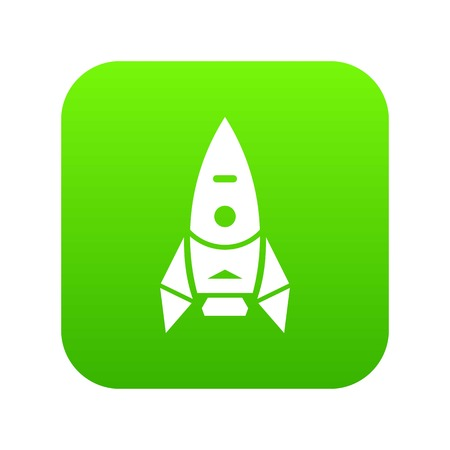 Rocket spacecraft icon green vector