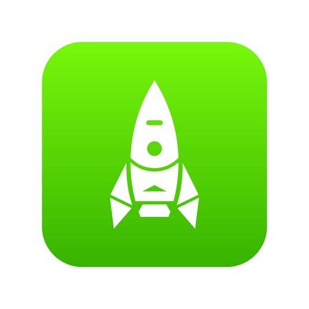 Rocket spacecraft icon green vector
