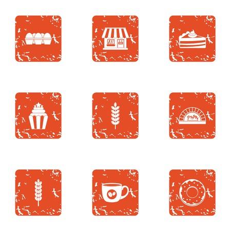 Store bakeshop icons set, grunge style