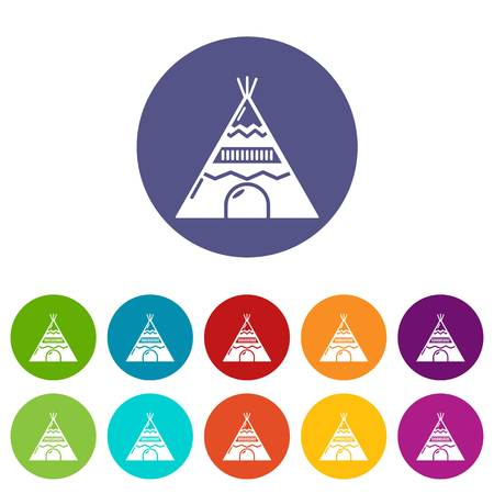 Indian tent icons set vector color