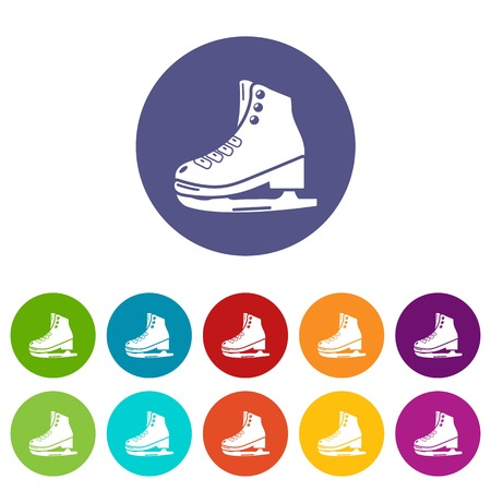 Skates ice icons set vector color Illustration