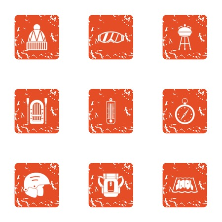 Sport orientation icons set, grunge style Illustration