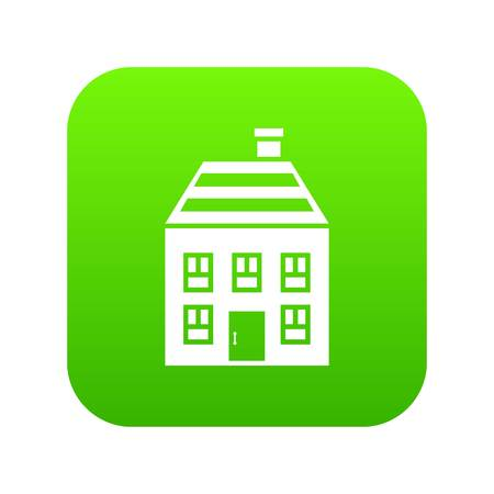 Two-storey house with chimney icon digital green