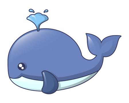 Blue whale icon, cartoon style