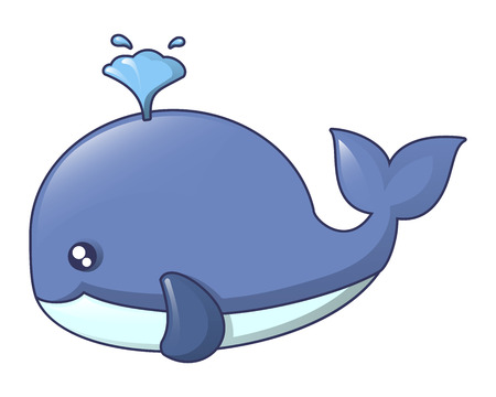 Blue whale icon, cartoon style