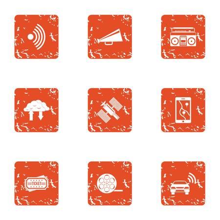 Space communication icons set, grunge style
