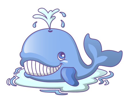 Water bath whale icon, cartoon style