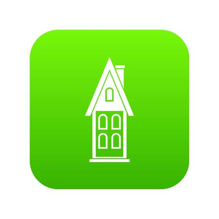 Two storey house with attic icon digital green Illustration