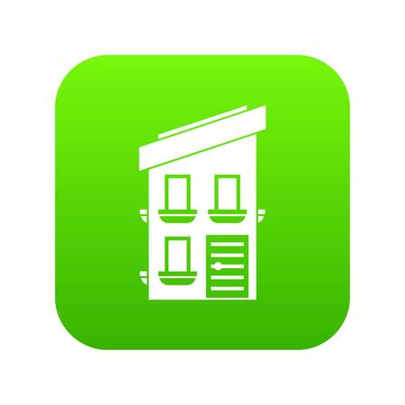 Two-storey house icon digital green