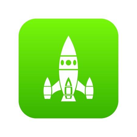 Rocket ship icon green vector