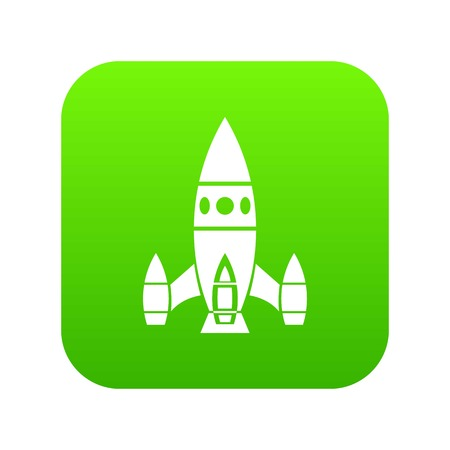 Rocket ship icon green vector