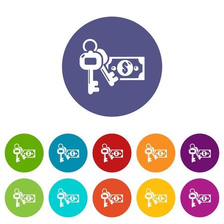 Safe money icons set vector color