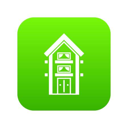 Two-storey house with balconies icon digital green
