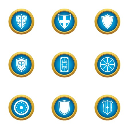Ancient shield icons set, flat style