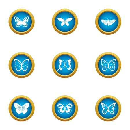 Cutworm icons set, flat style Stock Vector - 102016329