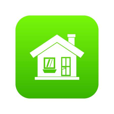 One-storey house with a chimney icon digital green