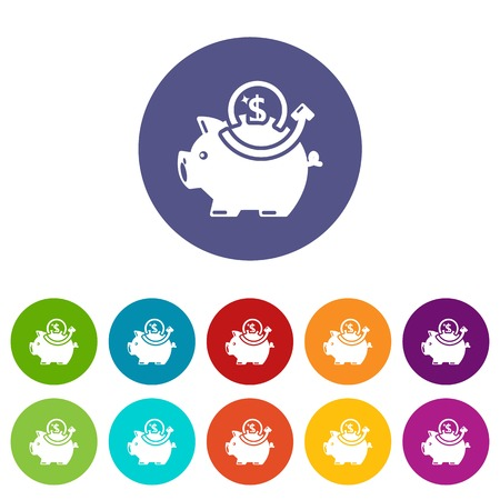 Pig money icons set vector color