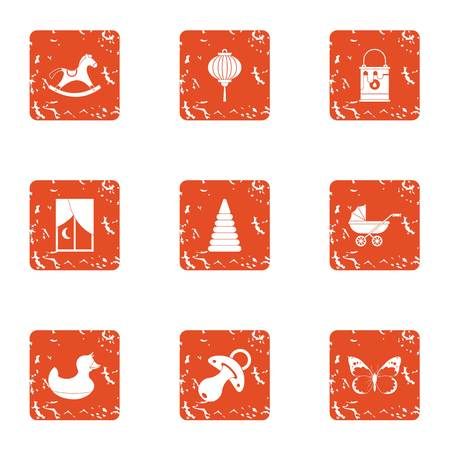 Small child playground icons set, grunge style Illustration
