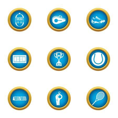 Lawn tennis icons set, flat style