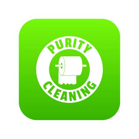 Cleaning toilet icon green vector
