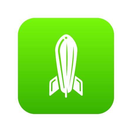 Rocket travel icon green vector