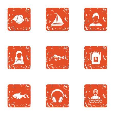 Stream icons set, grunge style