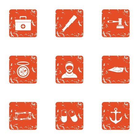 Doctor on ship icons set, grunge style