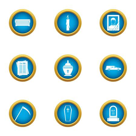 Grim icons set, flat style Stock Illustratie