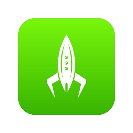 Rocket future icon green vector