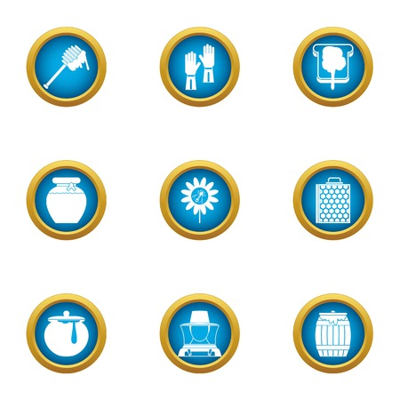 Honey business icons set, flat style