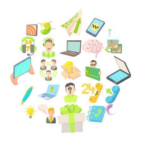 Mobile telecommunications icons set, cartoon style