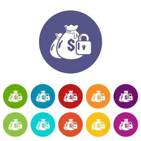 Insurance money icons set vector color