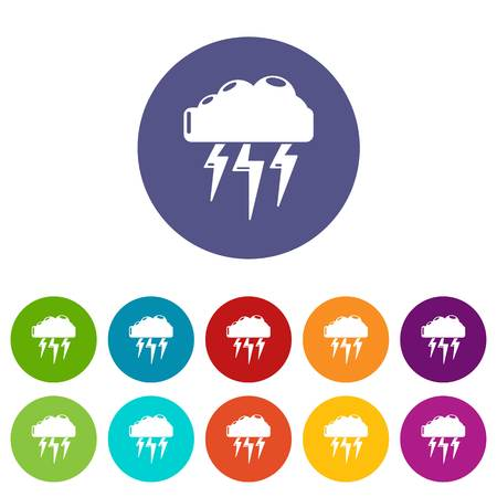 Atmospheric electricity icons set vector color