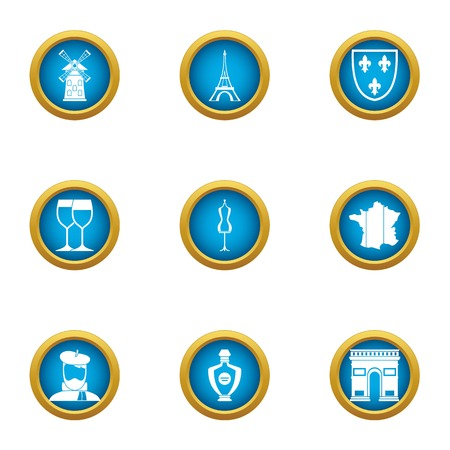 European restaurant icons set, flat style