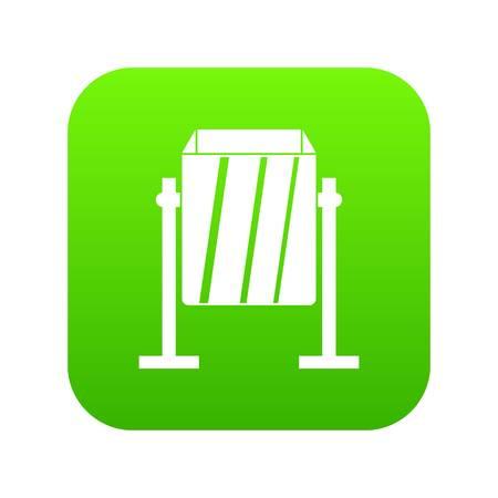 Metal dust bin icon digital green