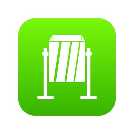 Metal dust bin icon digital green