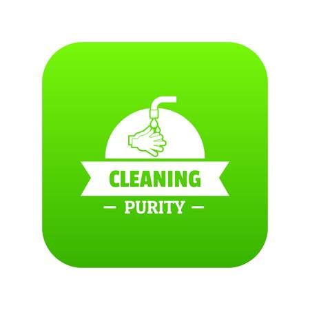 Cleaning purity icon green vector