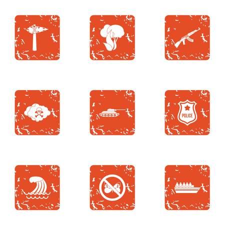 Rampage icons set, grunge style