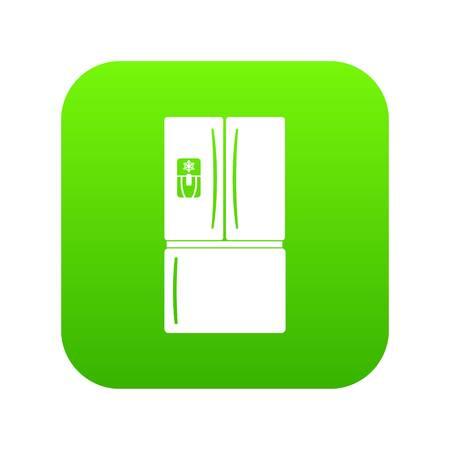 Fridge icon green vector