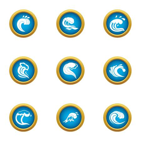 Highest wave icons set, flat style