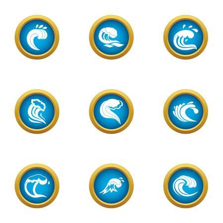Highest wave icons set, flat style