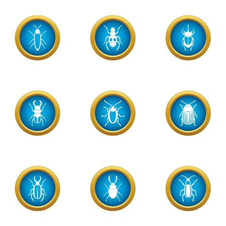 Fear of bug icons set, flat style  イラスト・ベクター素材