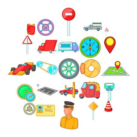 Car parking icons set, cartoon style