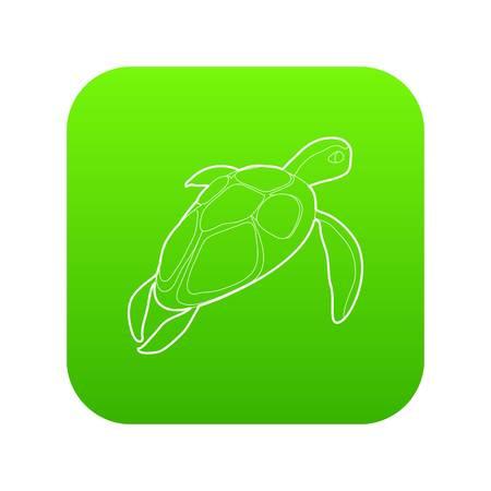 Turtle icon green vector