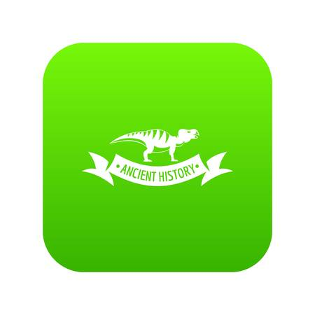 Jurassic dino icon green vector Illustration
